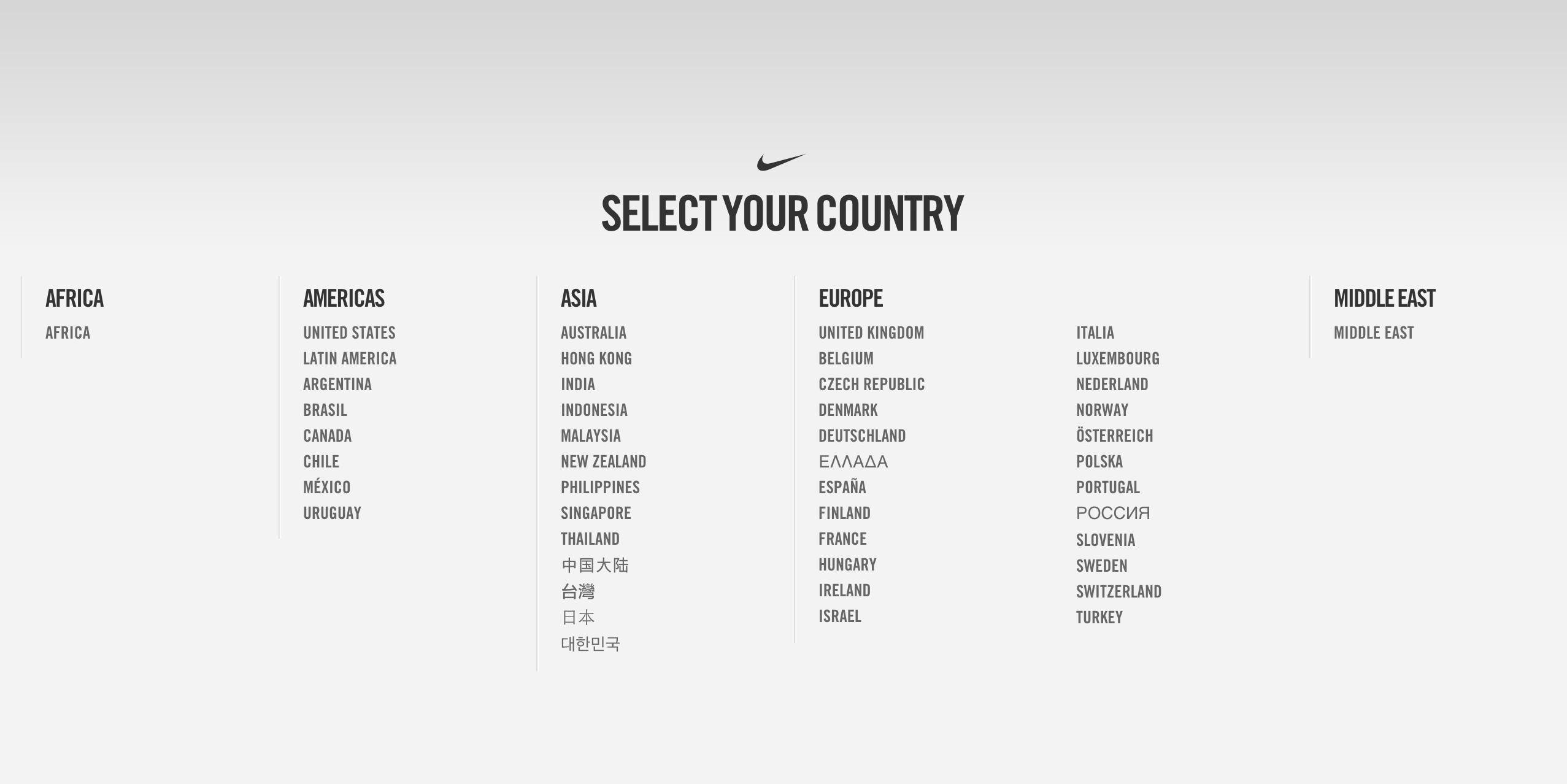 Nike Language Selection